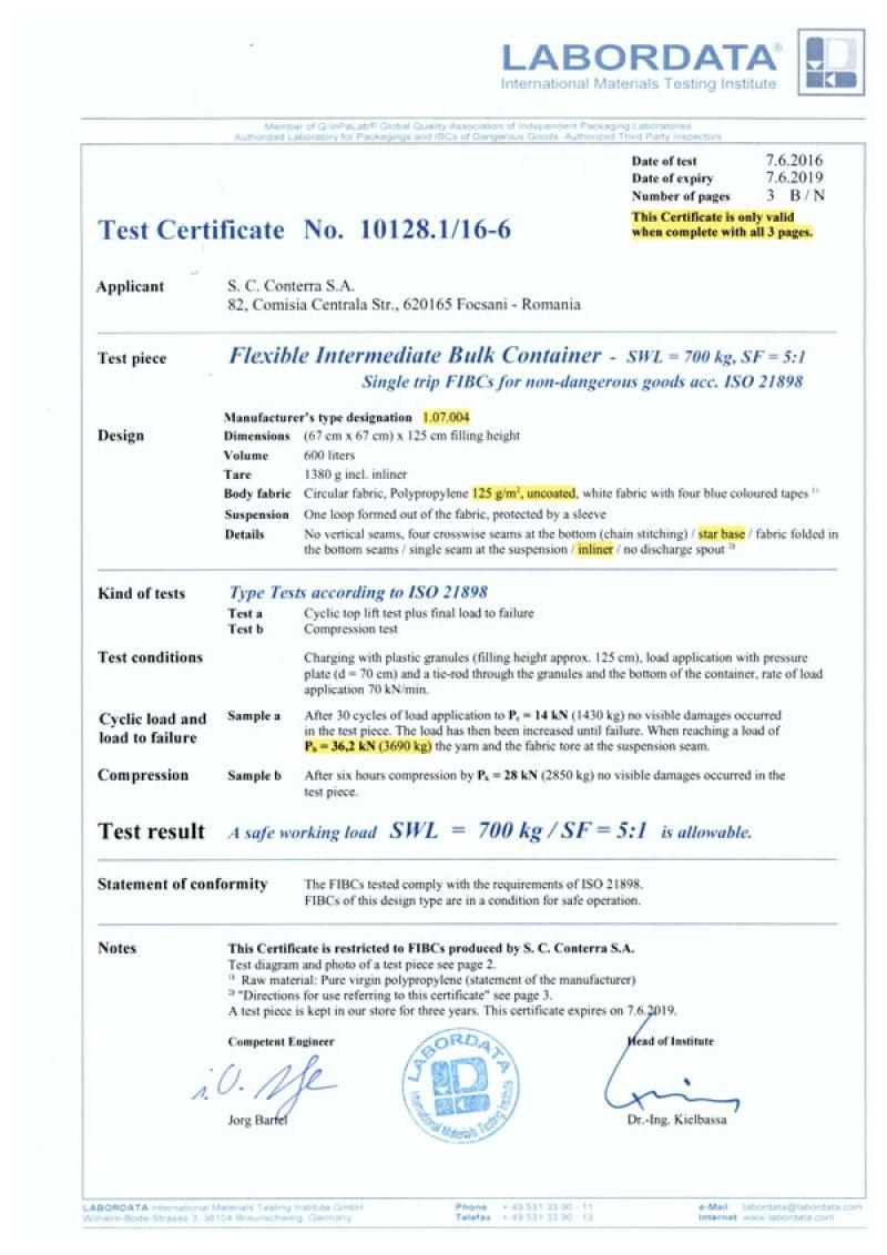 Certifications Conterra S A